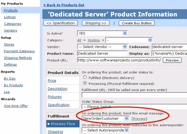 how to setup order confirmation emails software projects inc