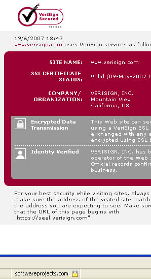 VeriSign SSL Certificate - Software Projects Inc.